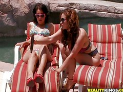 Sunbathing Brunette and Redhead Get Tanned Sucking and Fucking a Cock