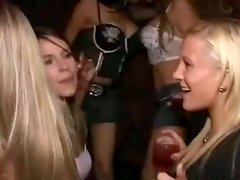 Two slutty girls show their asses in a club and get nailed in a house