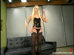 Charming blond doll Bella Starr can't live without that machine