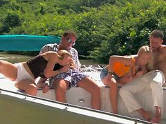 Jessica Moore and Morgan Moon have nice foursome sex on a boat