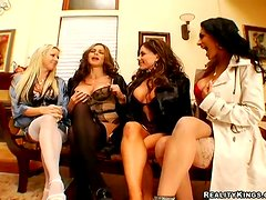 A lucky dude gets satisfied by four gorgeous chicks in CFNM clip