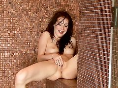 Aiden Ashley with shaved snatch screams as