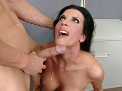 Big breasted brunette Shay Sights gets her pussy eaten and fucked hard