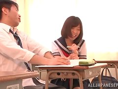 College bitch getting fucked hard by a classroom friend.