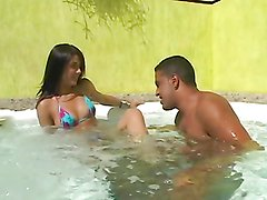 Rough sex in a jacuzzi with a horny Brazilian babe