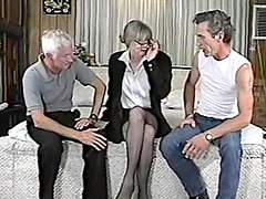 Fugly blonde mom gets fucked by two dudes after sucking their cocks
