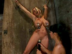 Busty Blonde Holly Halston Getting Her Big Boobs Tortured in Rope Bondage