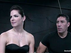 Sexy brunette Bobbi Starr gets stunningly fucked in BDSM clip