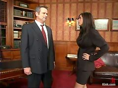 Horny Shy Love ties a man up and toys his ass in an office