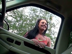 Brunette Hoe Gets Picked Up On The Street And Gets Anal Sex From Lucky Dude