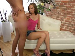 Charming chick Alessia Lebedeva gives her lover a nice blowjob