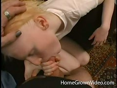Amateur blonde chick gets fucked and then facialed in POV video