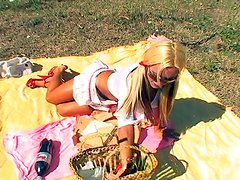 Kinky blonde shemale with big boobs is sucking fat sausage at the picnic