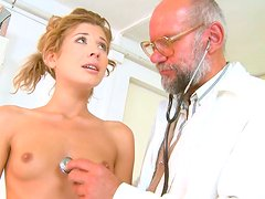 Kinky gyno doctor examines sweet pussy of one young blonde