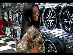 Rough sex in a car shop with a smoking hot Latina