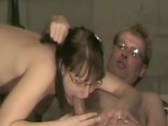 Girlfriend wearing glasses gets banged in the laundry room