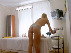 Alluring blondie gets her sweet pussy toyed by her masseur