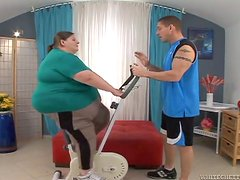 Fatzilla the fat woman gets fucked by her fitness instructor