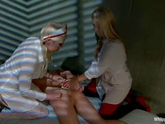 A brunette gets tortured and banged by two blonde nurses in BDSM clip