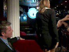 Two slutty blondes Kathy Campbel and Nesty share a prick in a bar