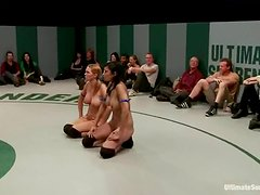 Two lusty babes are torturing one sexy wrestler