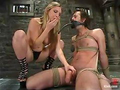 Harmony the nasty mistress wraps a guy and rides his dick