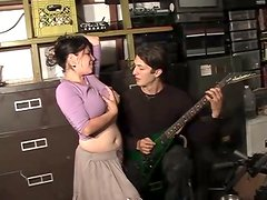 Brunette girl with huge boobs gets fucked by a guitarist