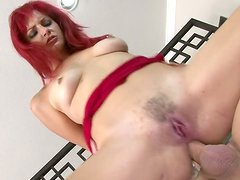 Red-haired whore with small tits gets anal fucked hard and deep