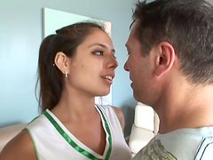 Petite Latina babe bends over and gets balled hard