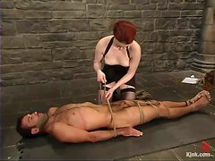 Mistress in glasses Claire Adams is being humiliated