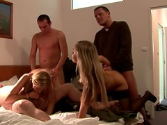 Beauty blonde Tanja swallows sperm in the bathroom
