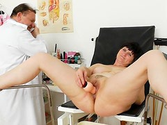 Brunette Slavomira is playing with a dildo