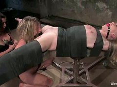 Harmony and her blonde GF enjoy being tormented by a sexy brunette