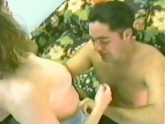 Brunette chick gets her trimmed pussy fucked in retro video