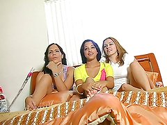 Abella and her girlfriends share a big cock