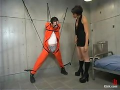 Nasty Dylan Ryan ties the guy up and drills his ass in a prison