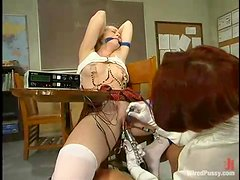 Blonde Student Tortured and Dominated by Redhead Teacher