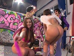Delightful brunette babe gets nailed in cosplay video