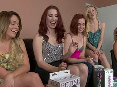 Group of nasty lesbians toy pussies with strap-ons and dildos