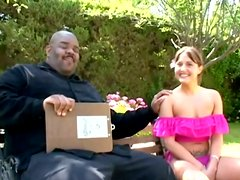 Brunette girl Nicole Parks gets fucked by a black stud in the garden
