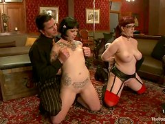 Brunette and redhead chicks get pounded by their master