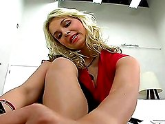 Sarah Vandella gives a great footjob before she's fucked