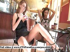 Awesome Two Gorgeous Teen Girls Public Flashing