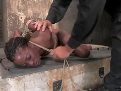 Playful ebony siren is going through some pain