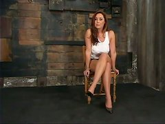 Busty cougar enjoys being hogtied on the floor