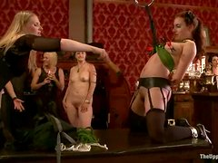 Busty redhead milf gets tortured and humiliated in BDSM scene