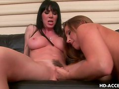 Four stunning chicks with big boobs play with each others pussies