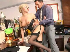 Sexy office assistant gets her wet pussy licked by her boss