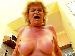Anal penetration of granny in the kitchen