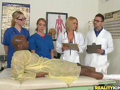 Two sexy interns and female doctor get rammed in a hospital
